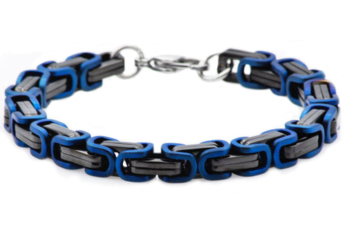 Mens Black And Blue Plated Stainless Steel Byzantine Link Chain Bracelet - Blackjack Jewelry