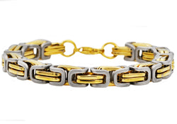 Mens Gold Plated Stainless Steel Byzantine Link Chain Bracelet - Blackjack Jewelry