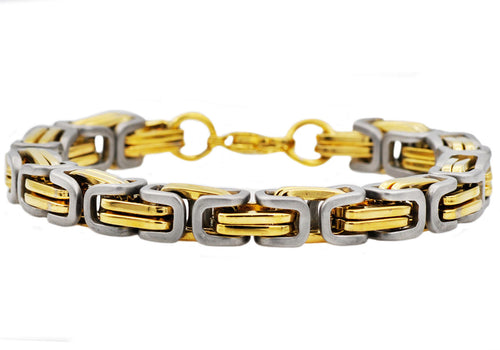 Mens Two Tone Gold Plated Stainless Steel Byzantine Link Chain Bracelet - Blackjack Jewelry