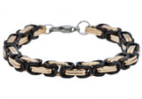 Mens Rose And Black Plated Stainless Steel Byzantine Link Chain Bracelet