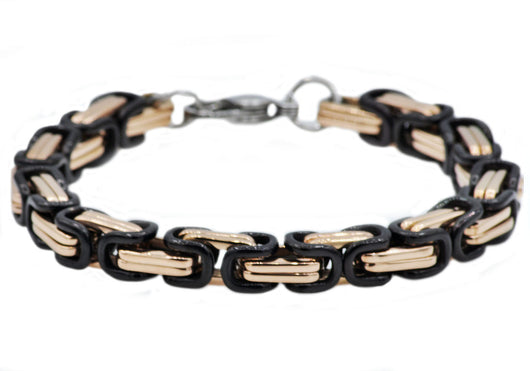 Mens Rose And Black Plated Stainless Steel Byzantine Link Chain Bracelet - Blackjack Jewelry