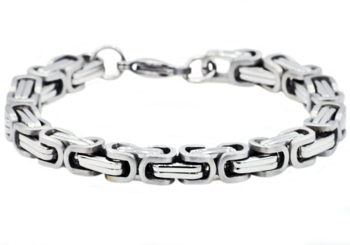 Mens Stainless Steel Byzantine Link Chain Bracelet - Blackjack Jewelry