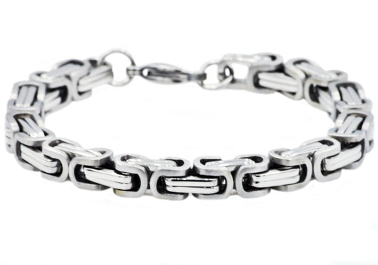 Mens Stainless Steel Byzantine Link Chain Bracelet