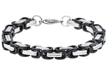 Load image into Gallery viewer, Mens Two Tone Black Plated Stainless Steel Byzantine Link Chain Bracelet - Blackjack Jewelry