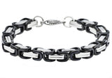 Mens Black Plated Stainless Steel Byzantine Link Chain Bracelet - Blackjack Jewelry