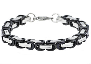 Mens Two Tone Black Plated Stainless Steel Byzantine Link Chain Bracelet - Blackjack Jewelry