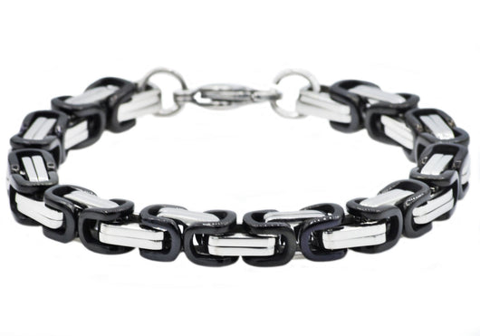 Mens Black Plated Stainless Steel Byzantine Link Chain Bracelet