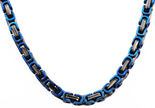 Mens Black And Blue Plated Stainless Steel Byzantine Link Chain Necklace - Blackjack Jewelry