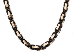 Mens Rose And Black Plated Stainless Steel Byzantine Link Chain Necklace - Blackjack Jewelry
