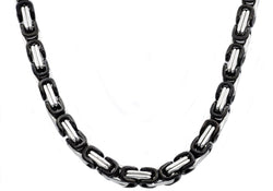 Mens Black Plated Stainless Steel Byzantine Link Chain Necklace