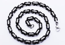 Load image into Gallery viewer, Mens Black Stainless Steel Byzantine Link Chain Necklace - Blackjack Jewelry