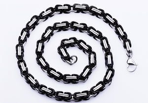 Mens Black Stainless Steel Byzantine Link Chain Necklace - Blackjack Jewelry