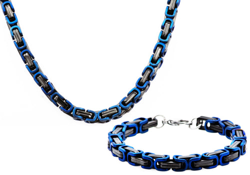 Mens Black And Blue Stainless Steel Byzantine Link Chain Set - Blackjack Jewelry