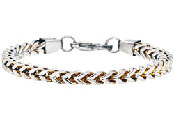 Mens Gold Plated Stainless Steel Franco Link Chain Bracelet - Blackjack Jewelry