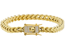 Load image into Gallery viewer, Mens Gold Stainless Steel Franco Link Chain Bracelet With Cubic Zirconia Box Clasp - Blackjack Jewelry