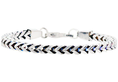 Mens Two Tone Blue Stainless Steel Franco Link Chain Bracelet - Blackjack Jewelry