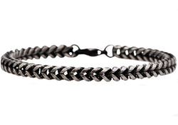 Mens Antique Plated Stainless Steel Franco Link Chain Bracelet - Blackjack Jewelry