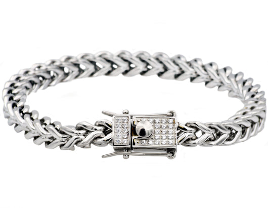 Mens Stainless Steel Franco Link Chain Bracelet With Cubic Zirconia - Blackjack Jewelry