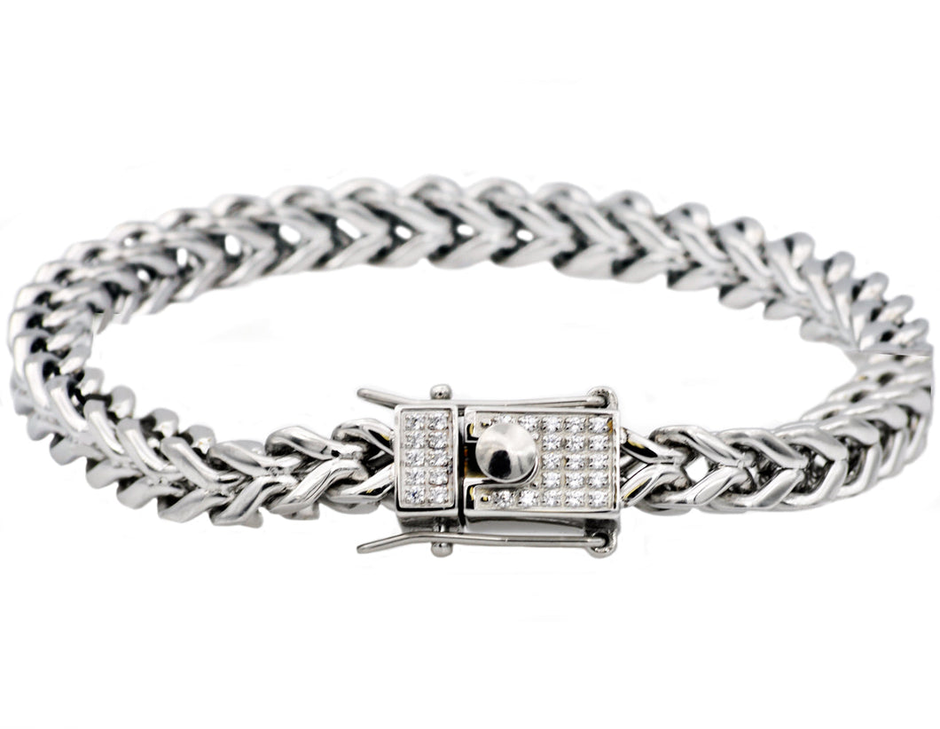 Mens Stainless Steel Franco Link Chain Bracelet With Cubic Zirconia Box Clasp - Blackjack Jewelry