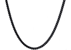 Mens 4mm Black Plated Stainless Steel Franco Link Chain Necklace - Blackjack Jewelry