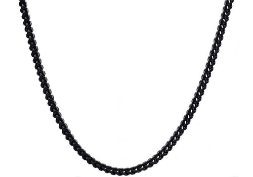 Mens 4mm Black Stainless Steel Franco Link Chain Necklace - Blackjack Jewelry