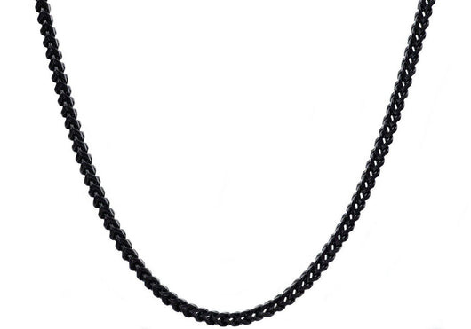Mens 4mm Black Plated Stainless Steel Franco Link Chain Necklace