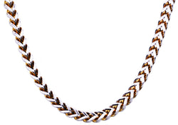 Mens 8mm Two Tone Gold Plated Stainless Steel Franco Link Chain Necklace - Blackjack Jewelry