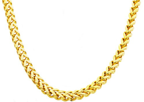 Mens 8mm Gold Plated Stainless Steel Franco Link Chain Necklace - Blackjack Jewelry
