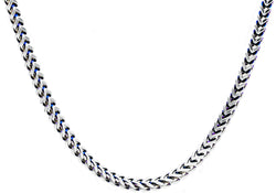 Mens Blue Plated Stainless Steel Franco Link Chain Necklace