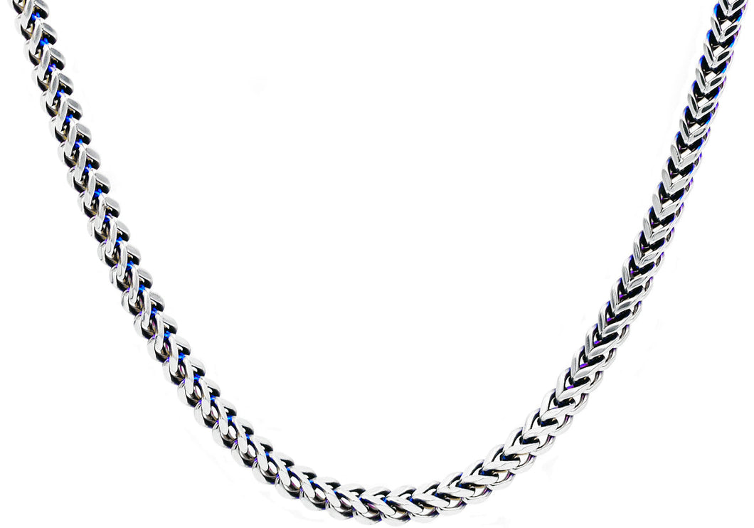 Mens 8mm Stainless Steel and Blue Plated Two Tone Franco Link Chain Necklace - Blackjack Jewelry