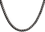 Mens Antique Plated Stainless Steel Franco Link Chain Necklace - Blackjack Jewelry