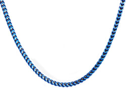 Mens 4 mm Blue Plated Stainless Steel Franco Link Chain Necklace
