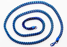 Load image into Gallery viewer, Mens 4 mm Blue Plated Stainless Steel Franco Link Chain Necklace - Blackjack Jewelry