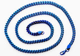 Mens 4 mm Blue Plated Stainless Steel Franco Link Chain Necklace - Blackjack Jewelry