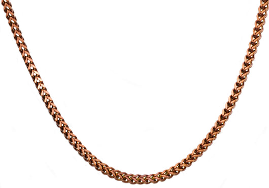 Mens 4 mm Chocolate Plated Stainless Steel Franco Link Chain Necklace