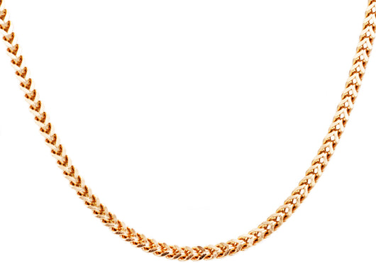 Mens 4 mm Rose Plated Stainless Steel Franco Link Chain Necklace