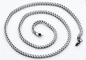 Mens 4mm Stainless Steel Franco Link Chain Necklace - Blackjack Jewelry