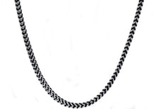 Load image into Gallery viewer, Mens 4mm Darkened Stainless Steel Franco Link Chain Necklace - Blackjack Jewelry