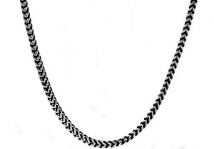 Mens 4mm Darkened Stainless Steel Franco Link Chain Necklace - Blackjack Jewelry