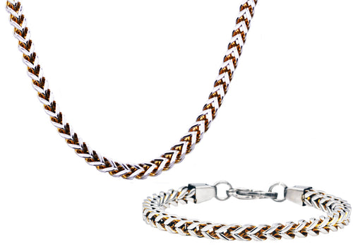 Mens 8mm Two Tone Gold Plated Stainless Steel Franco Link Chain Set - Blackjack Jewelry
