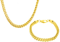 Mens 8mm Gold Plated Stainless Steel Franco Link Chain Set - Blackjack Jewelry