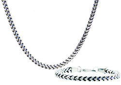 Mens 8mm Stainless Steel and Blue plated Two Tone Franco Link Chain Set - Blackjack Jewelry