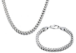 Mens 8mm Stainless Steel Franco Link Chain Set - Blackjack Jewelry