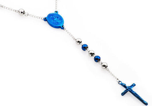 Mens Blue Plated Stainless Steel Rosary