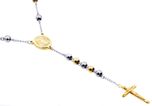 Mens Gold Plated Stainless Steel Rosary