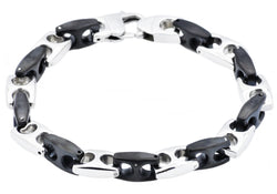 Mens Black Plated Stainless Steel Anchor Link Chain Bracelet