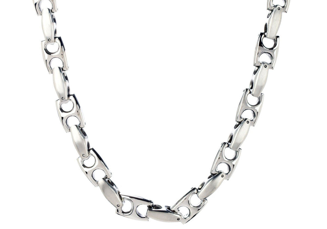 Mens Stainless Steel Anchor Link Chain Necklace - Blackjack Jewelry