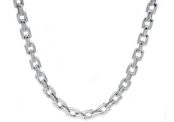 Mens Stainless Steel Square Link Chain Necklace