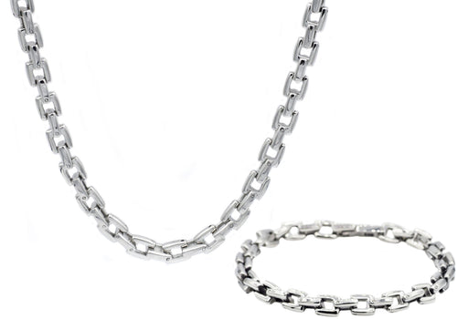 Mens Stainless Steel Square Link Chain Set - Blackjack Jewelry