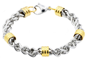 Mens Gold Stainless Steel Link Chain Bracelet - Blackjack Jewelry